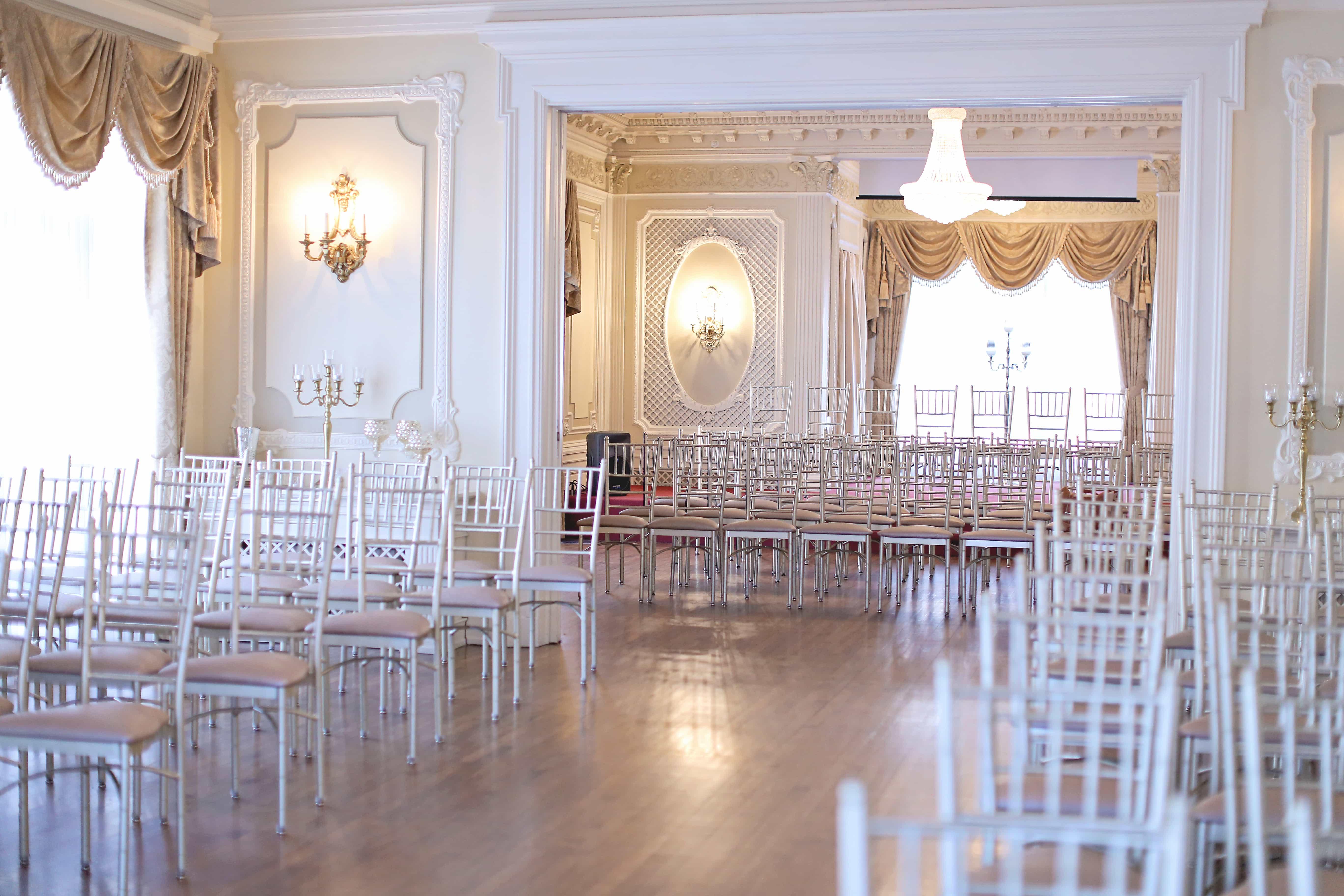Elegant Drapery At Indoor Ceremony: WEDDINGS: CEREMONY